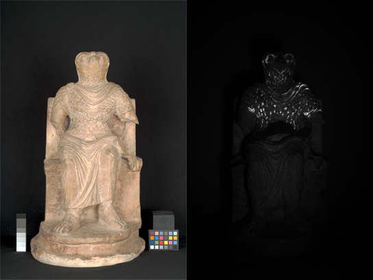 The image on the right was taken with an infrared camera. The bright white areas show where traces of 'Egyptian blue' pigment survive