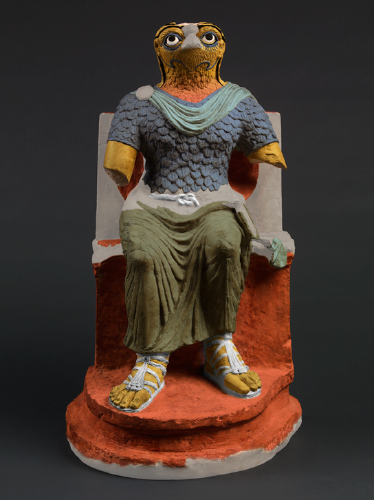 A colour reconstruction based on pigment analysis suggests how the statue originally may have looked