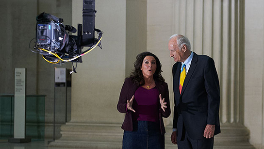 Pompeii Live presenters Bettany Hughes and Peter Snow