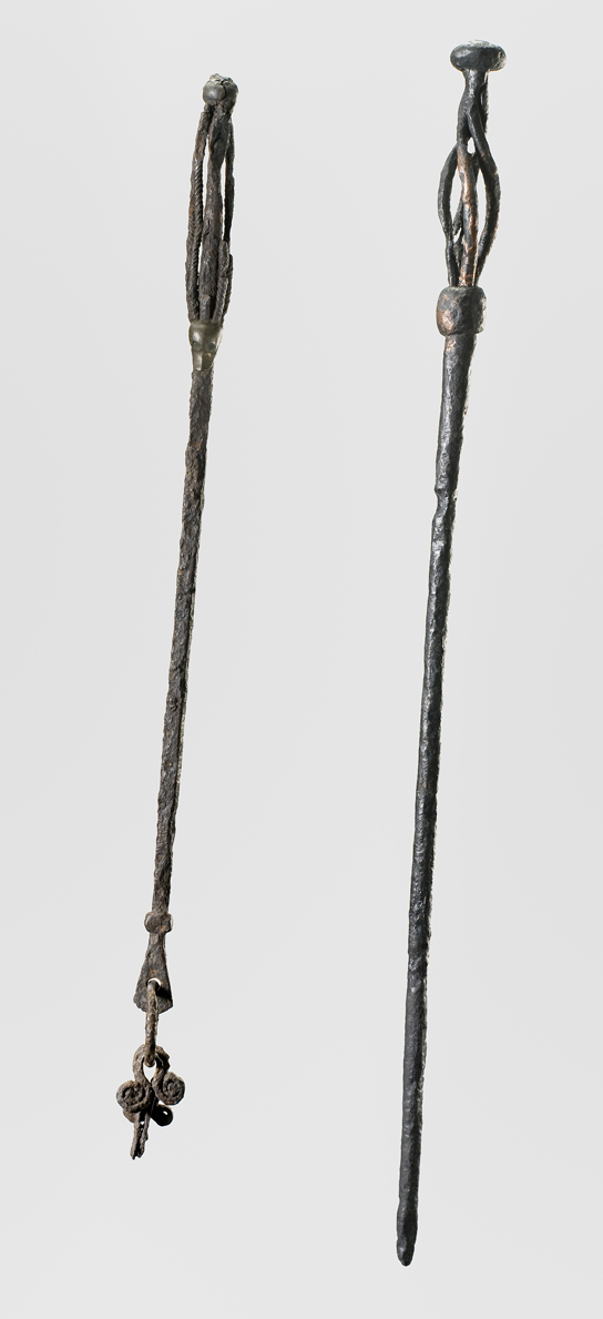 Objects of this type have been interpreted as staffs used by Viking sorceresses. From Gavle, Sweden (left) and Fuldby, Zealand, Denmark (right). © Nationalmuseet, Denmark