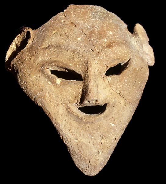 Ceramic mask recently found at Hierakonpolis, displayed in cast in Room 64, courtesy of the Hierakonpolis Expedition.