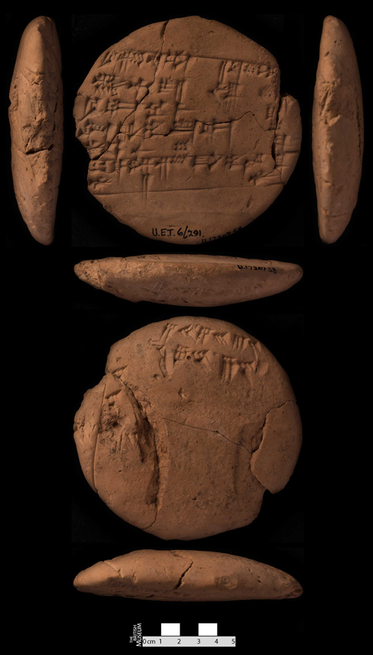 A Sumerian schoolboy's practice tablet with proverbs on one side and rough workings from a maths lesson on the back (multiple views). On study loan to the British Museum from the Iraq Museum.