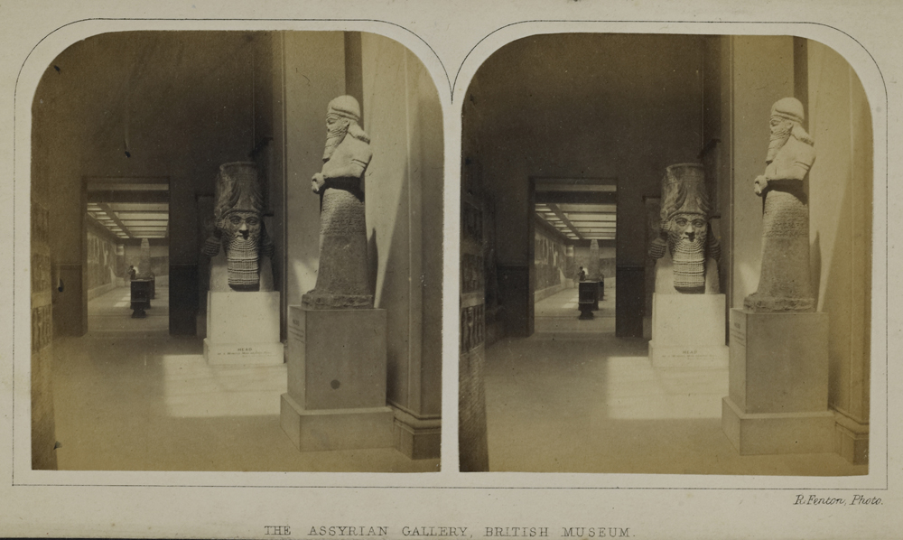 Roger Fenton, The Assyrian Gallery, British Museum. stereoscopic pair of photographs, c.1850s