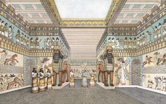 Reconstruction of the interior of an Assyrian palace.