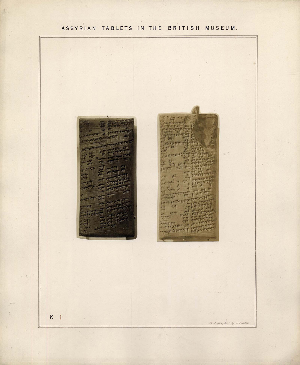 First in the series of Roger Fenton's photographs of the Kuyunjik Collection of cuneiform tablets. Albumen prints on card. Archives of the Middle East Department at the British Museum
