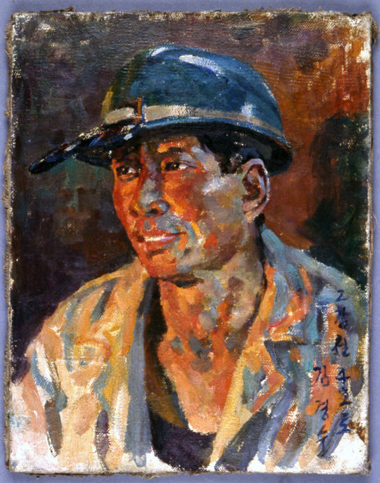 The Steelworker, Song Chan-yong (b. 1930), Oil on canvas. Democratic People's Republic of Korea, about 1990-99 (British Museum 2001,0607,0.6)