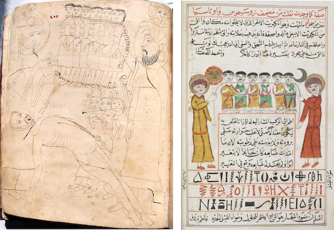 Another pair of matching illustrations in the same manuscripts, again showing numerous changes. (left: İstanbul Arkeoloji Muzeleri Kütüphanesi, MS 1574, fol. 205r; right: British Library, Add. MS 25724, fol. 18v)