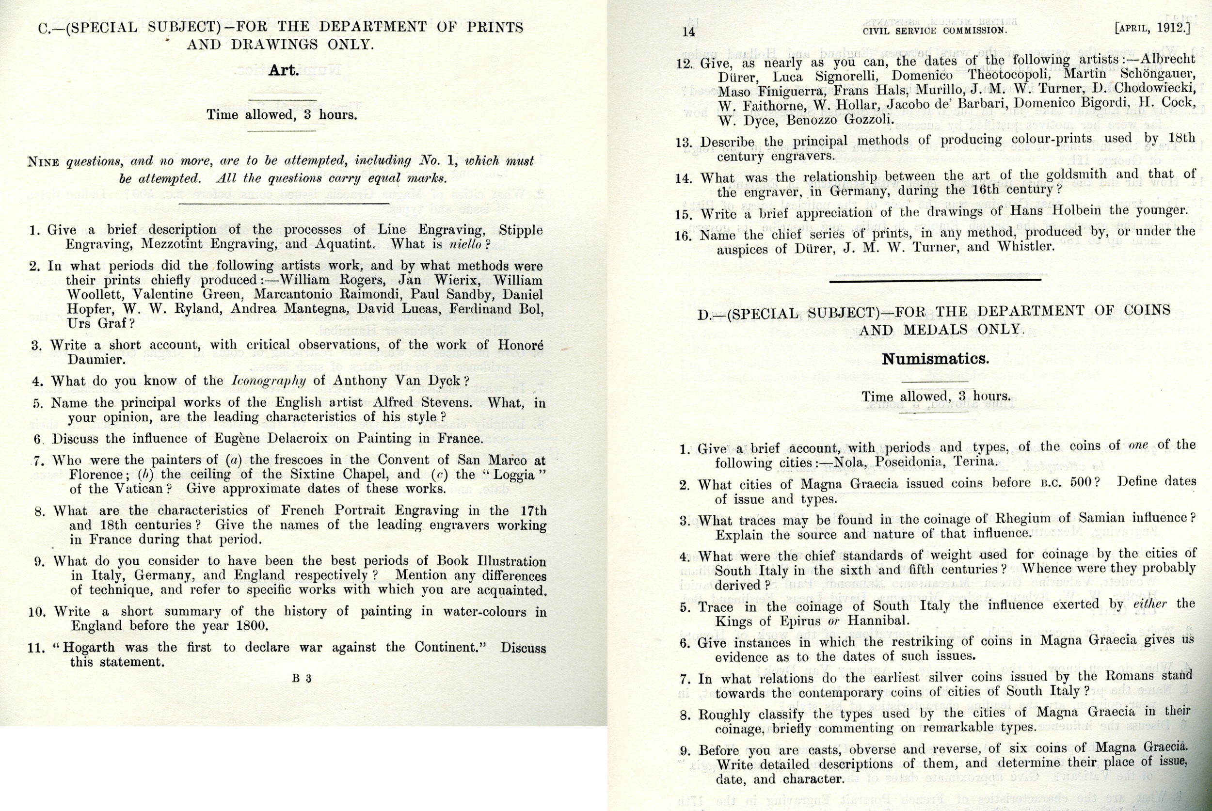 Examination from 1912 for prospective employees