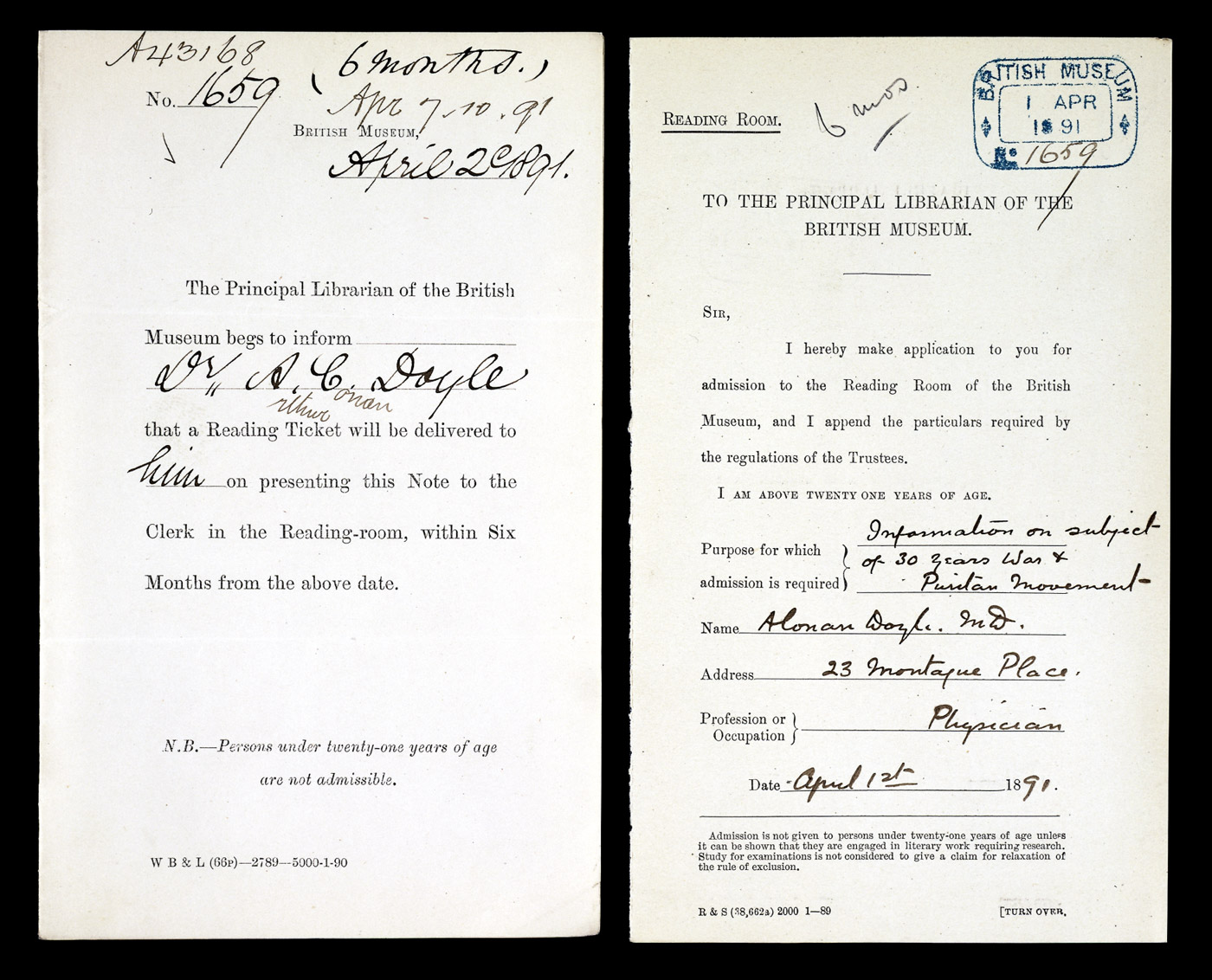 Arthur Conan Doyle's application for a ticket to the Reading Room.