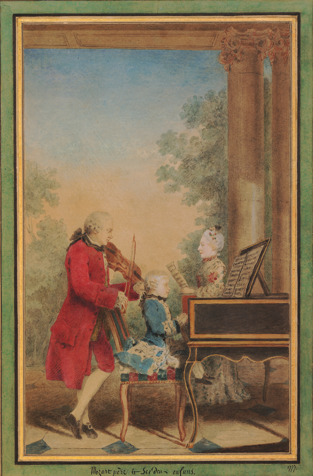Louis Carmontelle (1717–1806), Leopold Mozart and his two children, Wolfgang Amadeus and Marie Anne (Nannerl). Watercolour and bodycolour, on contemporary gold, black and green wash mount, 1777.