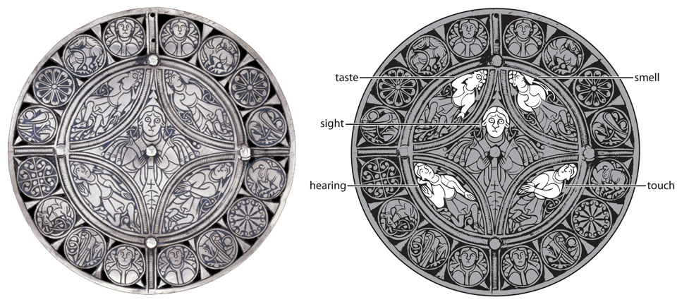 The five senses on the Fuller Brooch. Click on the image for a larger version