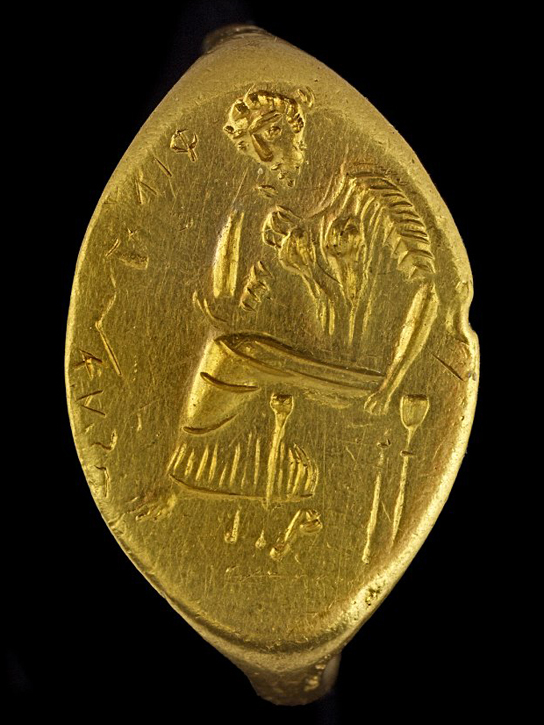 Gold finger-ring with a seated woman, perhaps Penelope. Western Greek, around 400 BC – 300 BC, possibly made in Sicily. GR 1867,0508.402