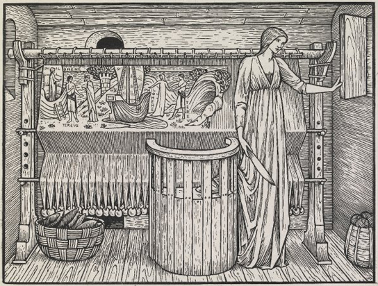 Edward Burne-Jones, Philomene, with a woman (Philomela) standing by her loom holding a shuttle in an interior, with a half-woven tapestry with the story of Philomene and Tereus, looking out of the window. Wood-engraving on India paper. Proof of an illustration designed by for the Kelmscott Chaucer, p.441, 'The Legend of Goode Wimmen'. 1896. PD 1912,0612.372