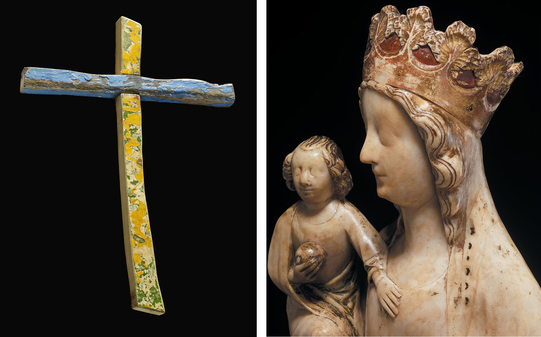 Left: The Lampedusa Cross acquired in 2015. Right: detail of the alabaster Virgin and Child, made in the Midlands, c. 1360s.