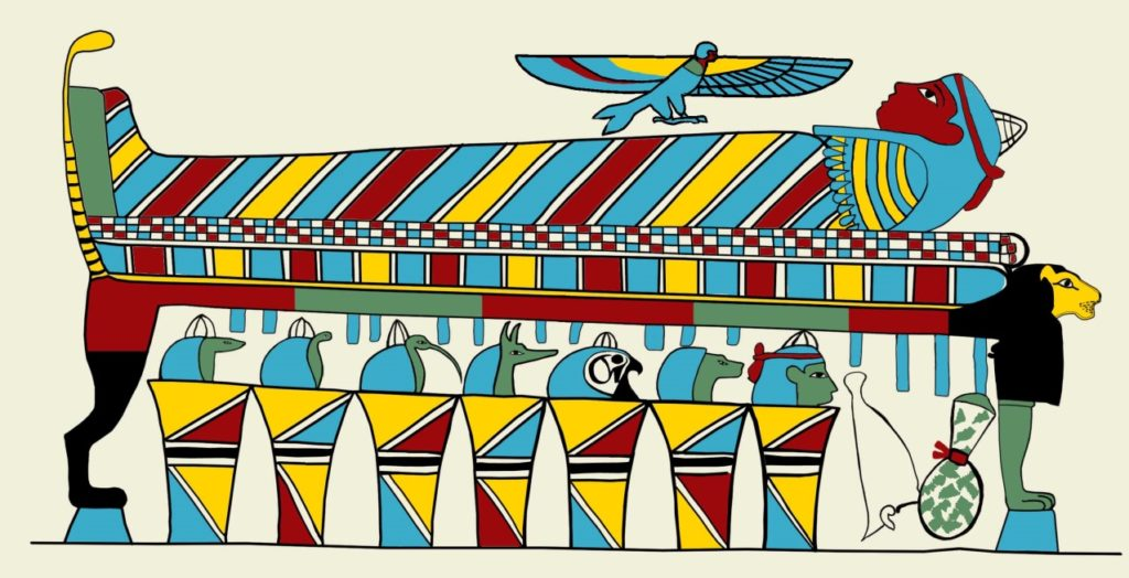 A colour reconstruction by illustrator Claire Thorne of the mummy and jars scene found on the outer coffin of Nestawedjat (EA22813A), based on the information provided by multispectral imaging and analysis.