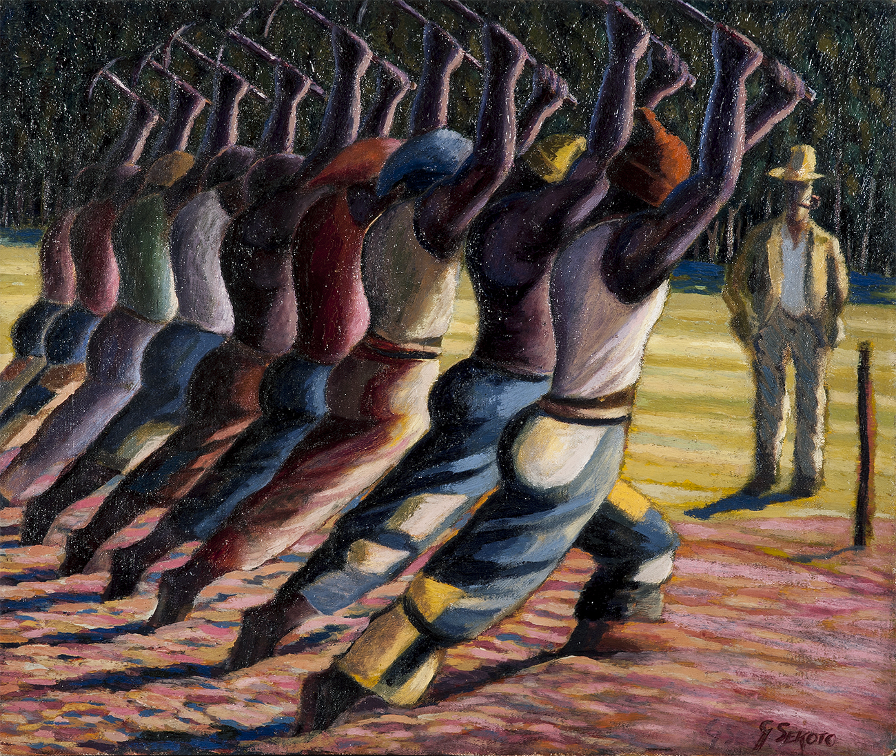 Gerard Sekoto (1913–1993), Song of the Pick. Oil on board, 1946. South32 SA Limited. © The Sekoto Foundation.