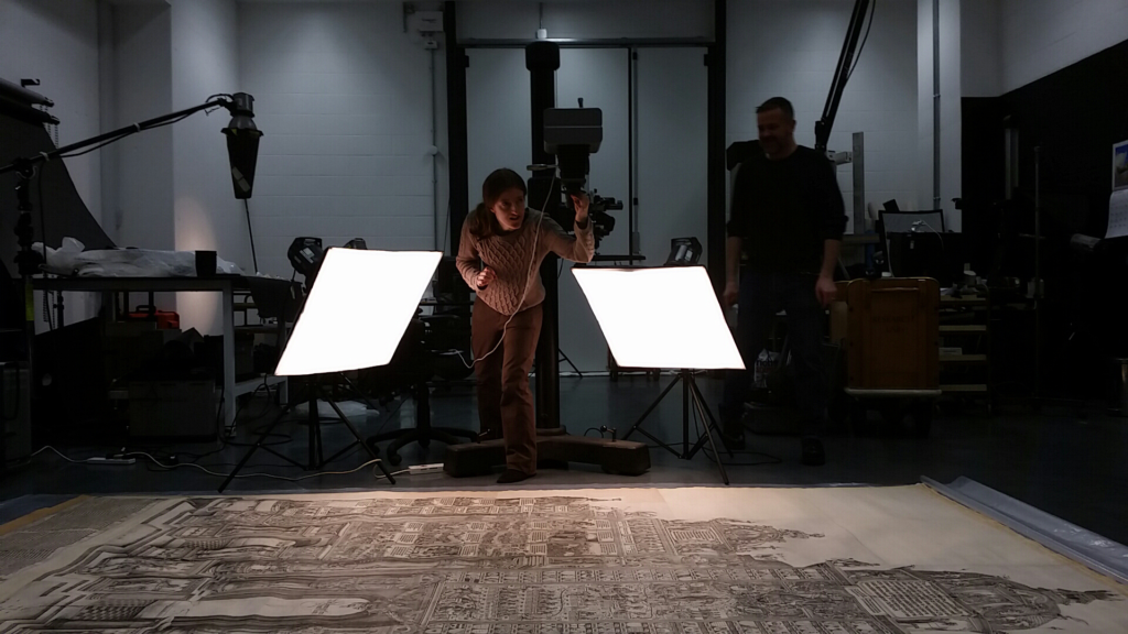 Joanna Russell setting up the ultraviolet and infrared photography apparatus.