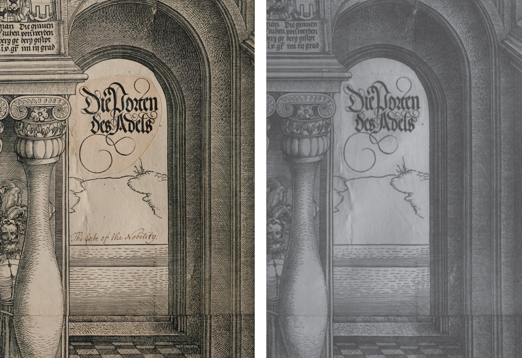 Left: A visible image of a detail from the Arch. Right: An infrared reflectogram of the same detail. The words 'The Gate of the Nobility' do not appear in the infrared image.