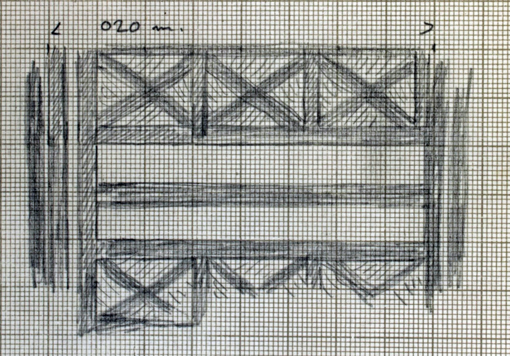 A drawing from one of Woolley's fieldwork notebooks of the matting that lined Grave PG/1422.