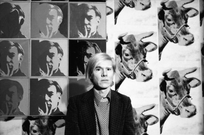 Andy Warhol at his May 1971 retrospective at the Whitney Museum of American Art, New York. Photo by Jack Mitchell/Getty Images.