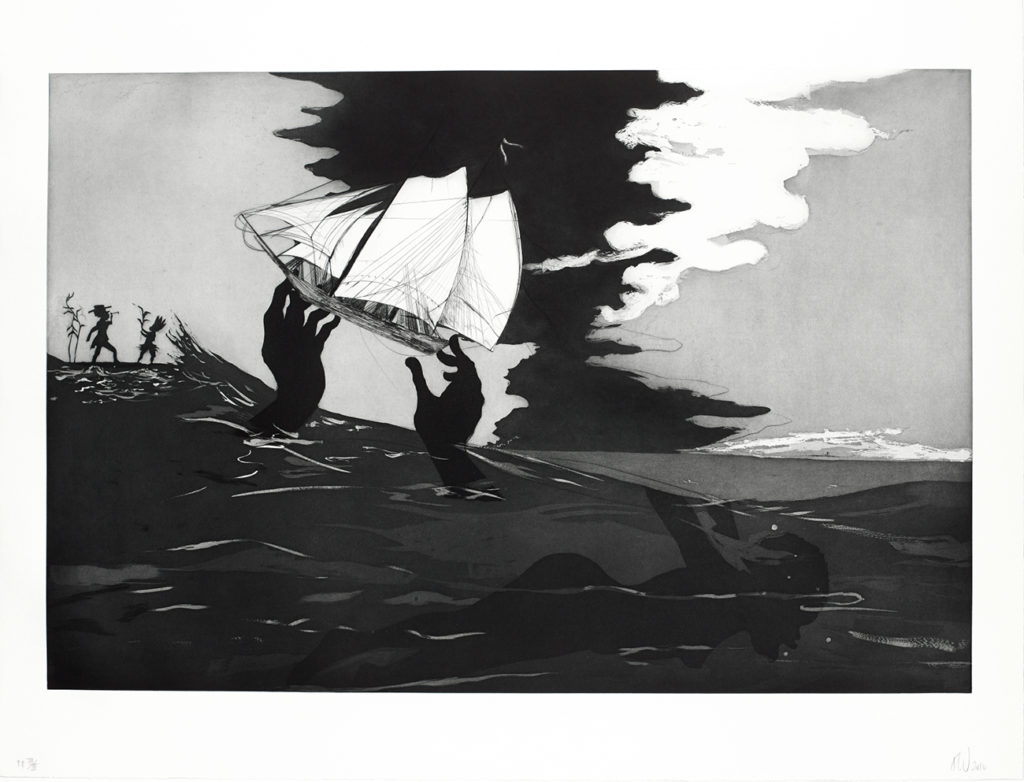 Kara Walker (b. 1969), no world from An Unpeopled Land in Uncharted Waters. Aquatint, 2010. © Kara Walker. Reproduced by permission of the artist.