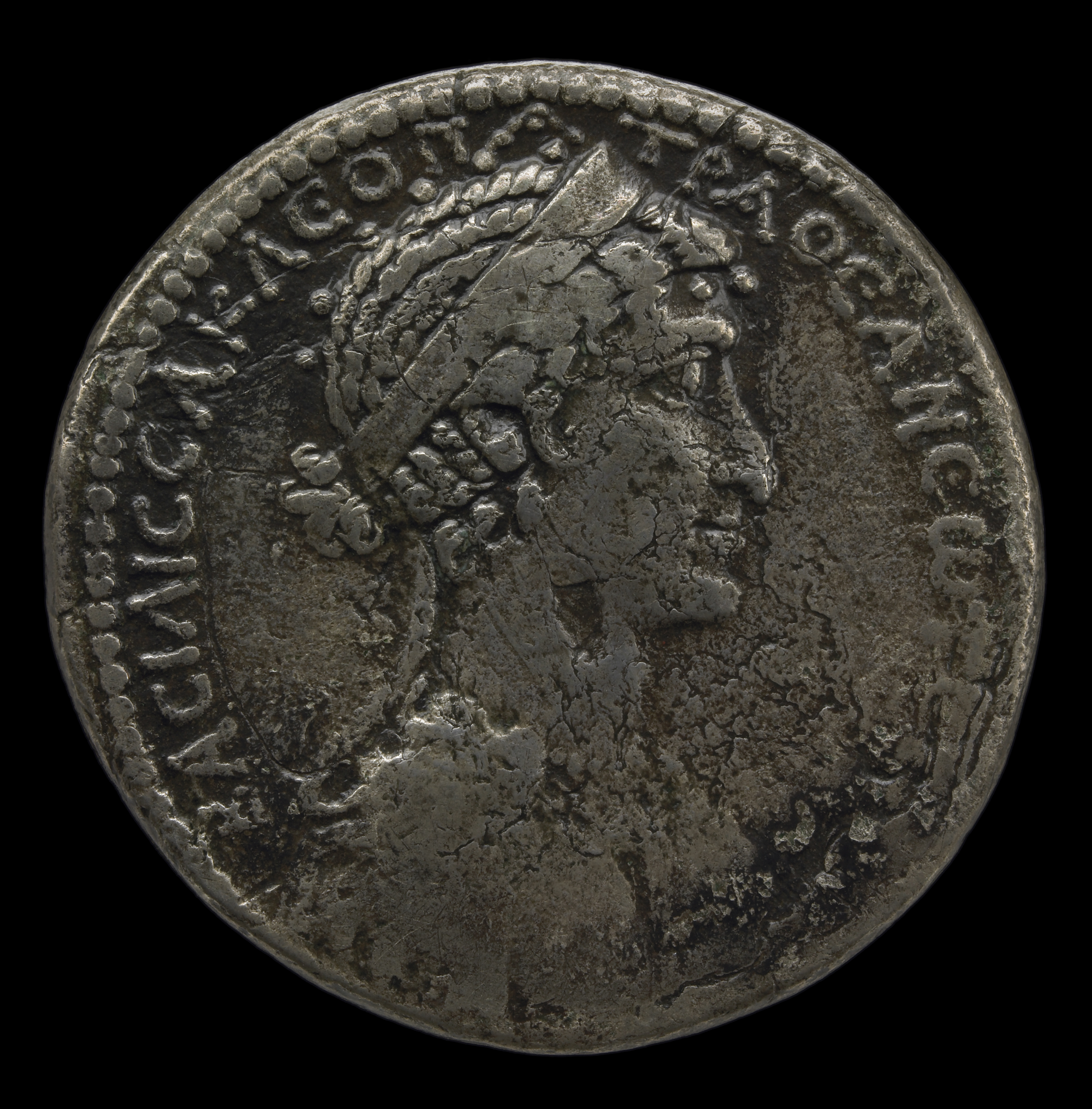 Silver tetradrachm coin of Mark Antony and Cleopatra. Minted in Syria, c. 36 BC.