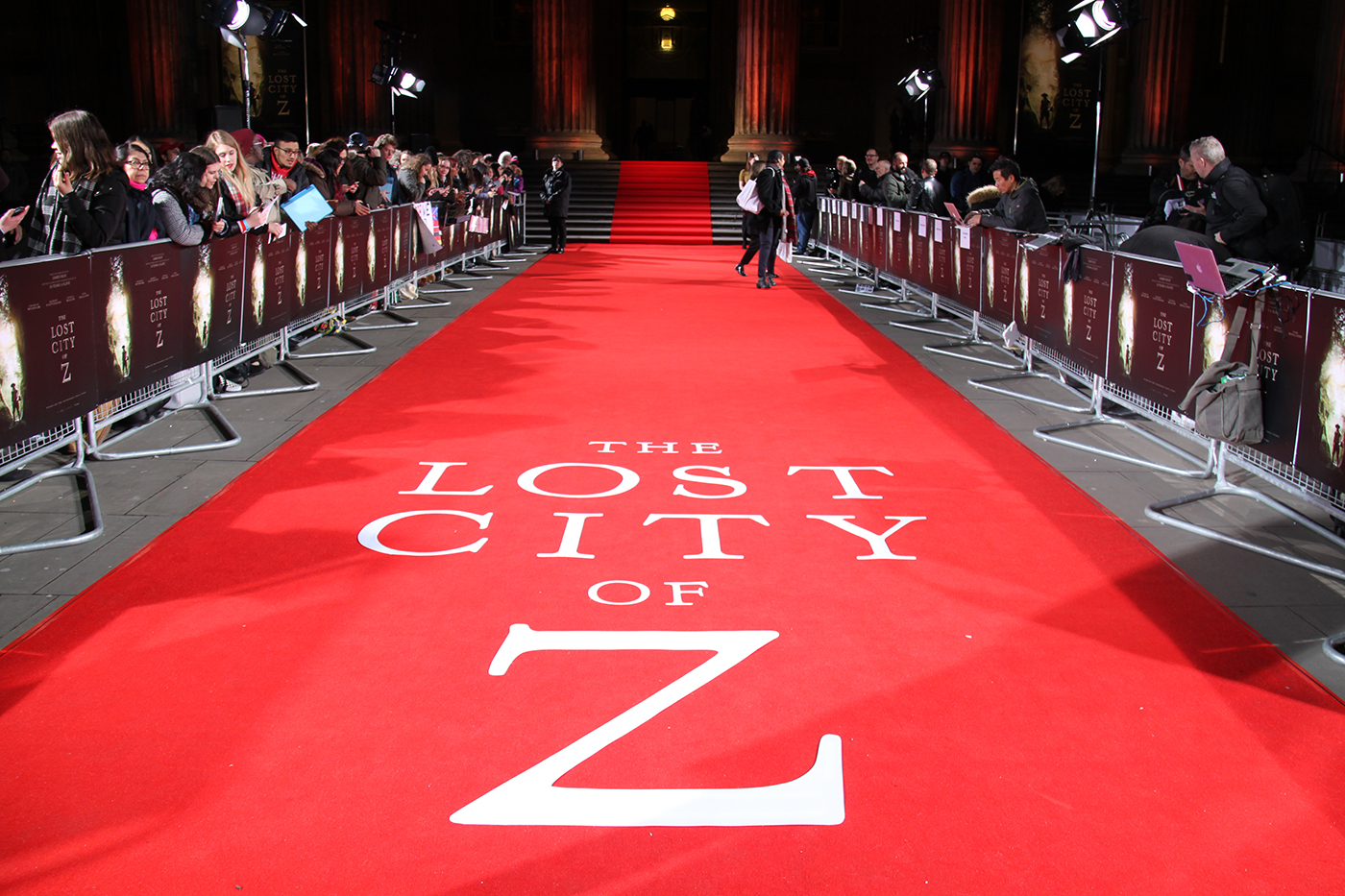Red carpet at the premiere for The Lost City of Z at the British Museum, February 2017.