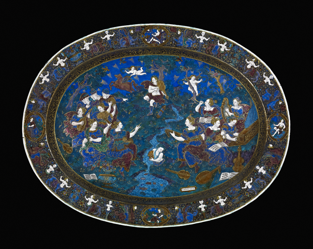 Apollo and the Muses on Mount Helicon. Painted enamel on copper with gilding. Limoges, France, around 1600.