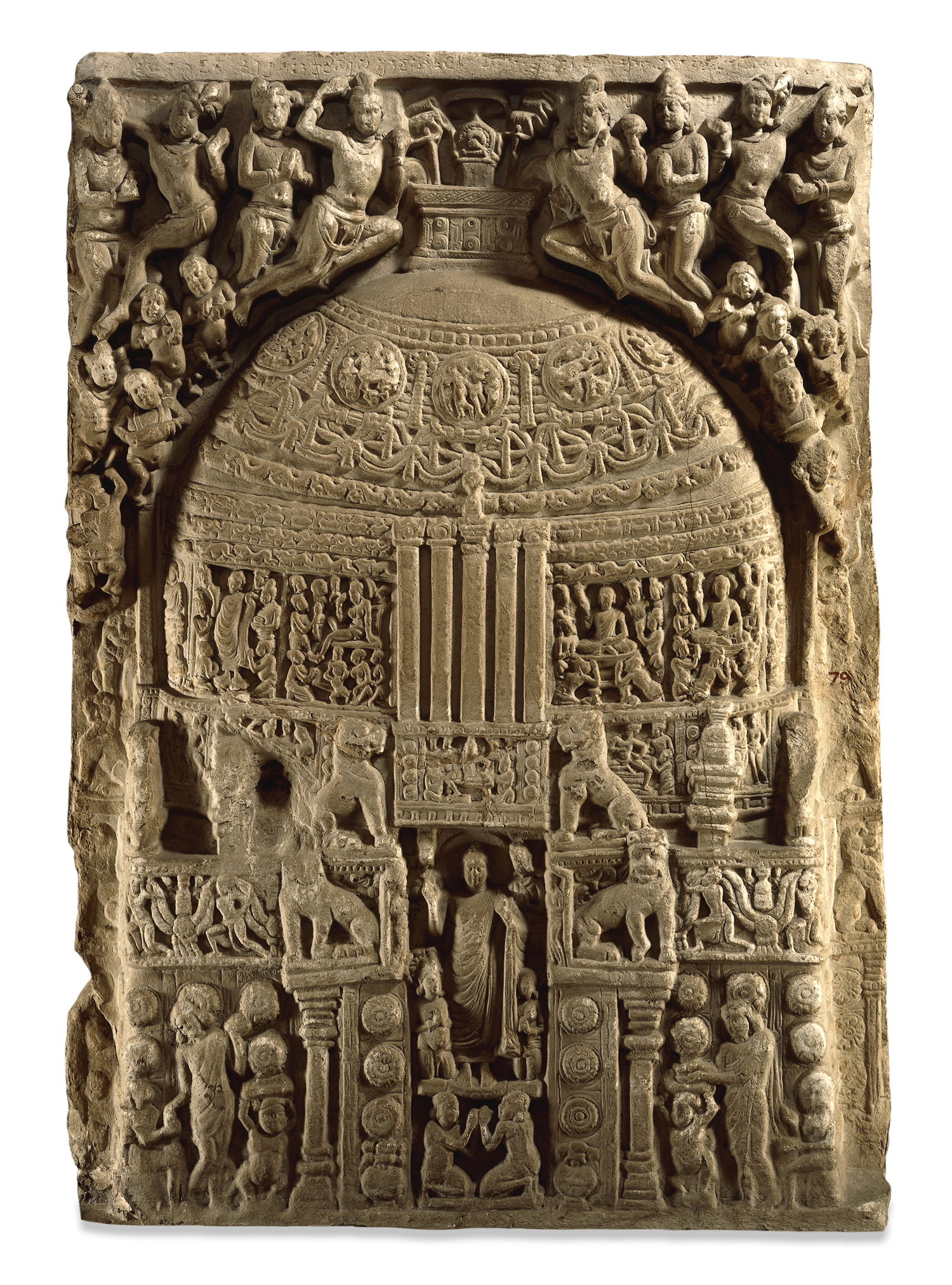Two-sided limestone relief from the Great Shrine at Amaravati (India), carved first in the 1stcentury BC (featuring the Buddha as an empty throne), and then turned over and carved in the 3rd century AD (featuring a corporal Buddha standing in front of the shrine).