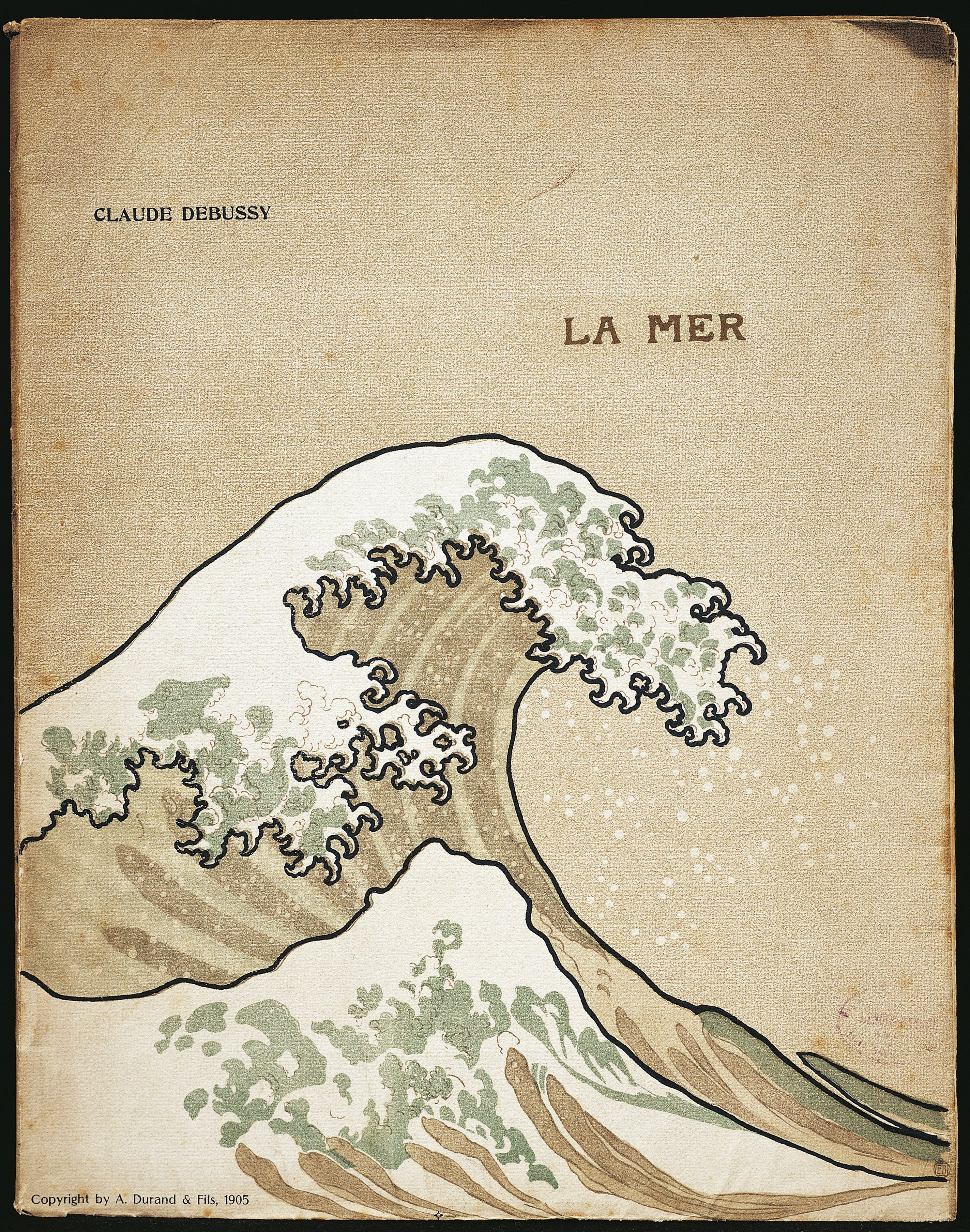 Cover of the first edition of Debussy's La Mer. A Durand and Sons, 1905. Photo: DEA/G DAGLI ORTI/De Agostini/Getty Images.