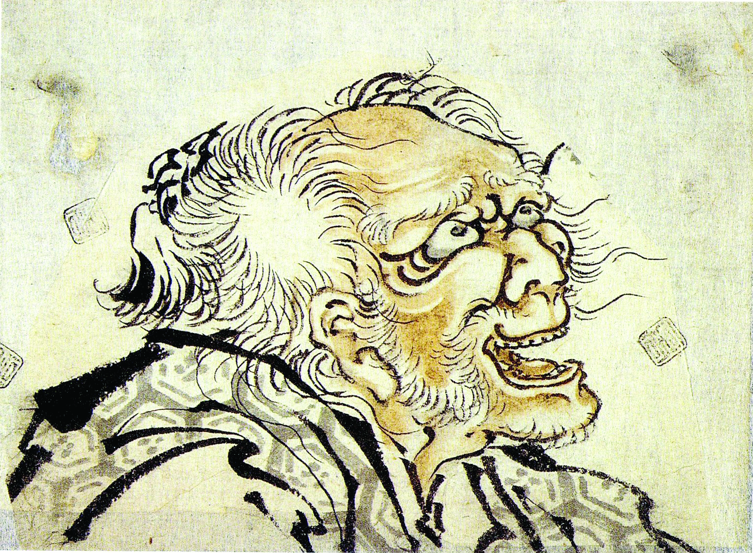 Katsushika Hokusai (1760–1849) Head of an old man. Ink and slight colour on paper, early 1840s. Collection Nationaal Museum van Wereldculturen, Coll. No. RV-2736-11/2.