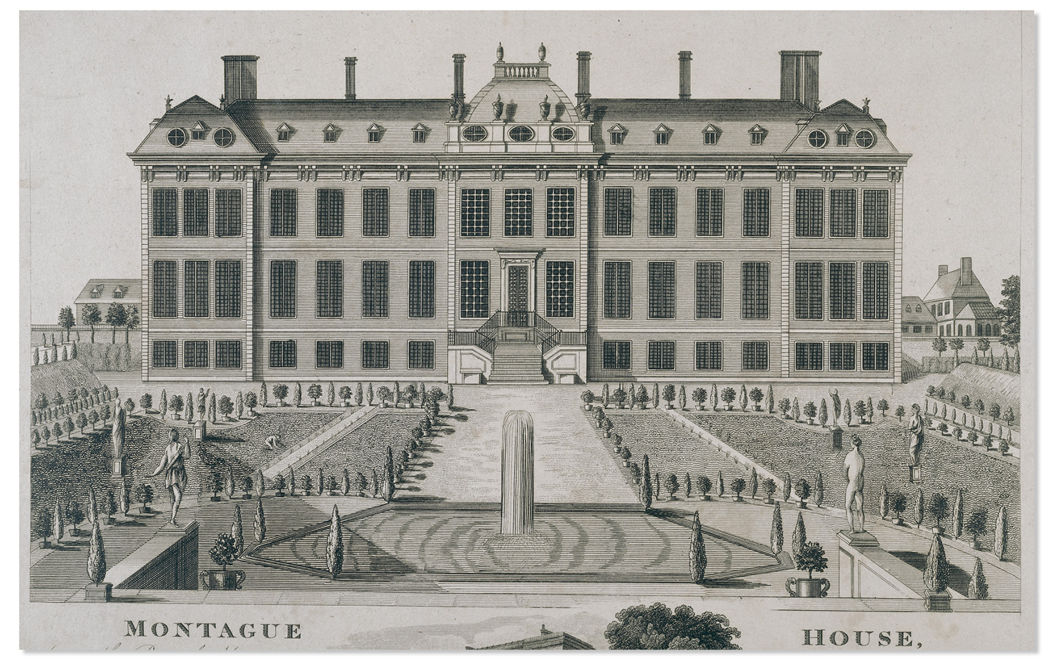 The north front of Montagu House and Gardens. Engraving by James Simon, 1714.