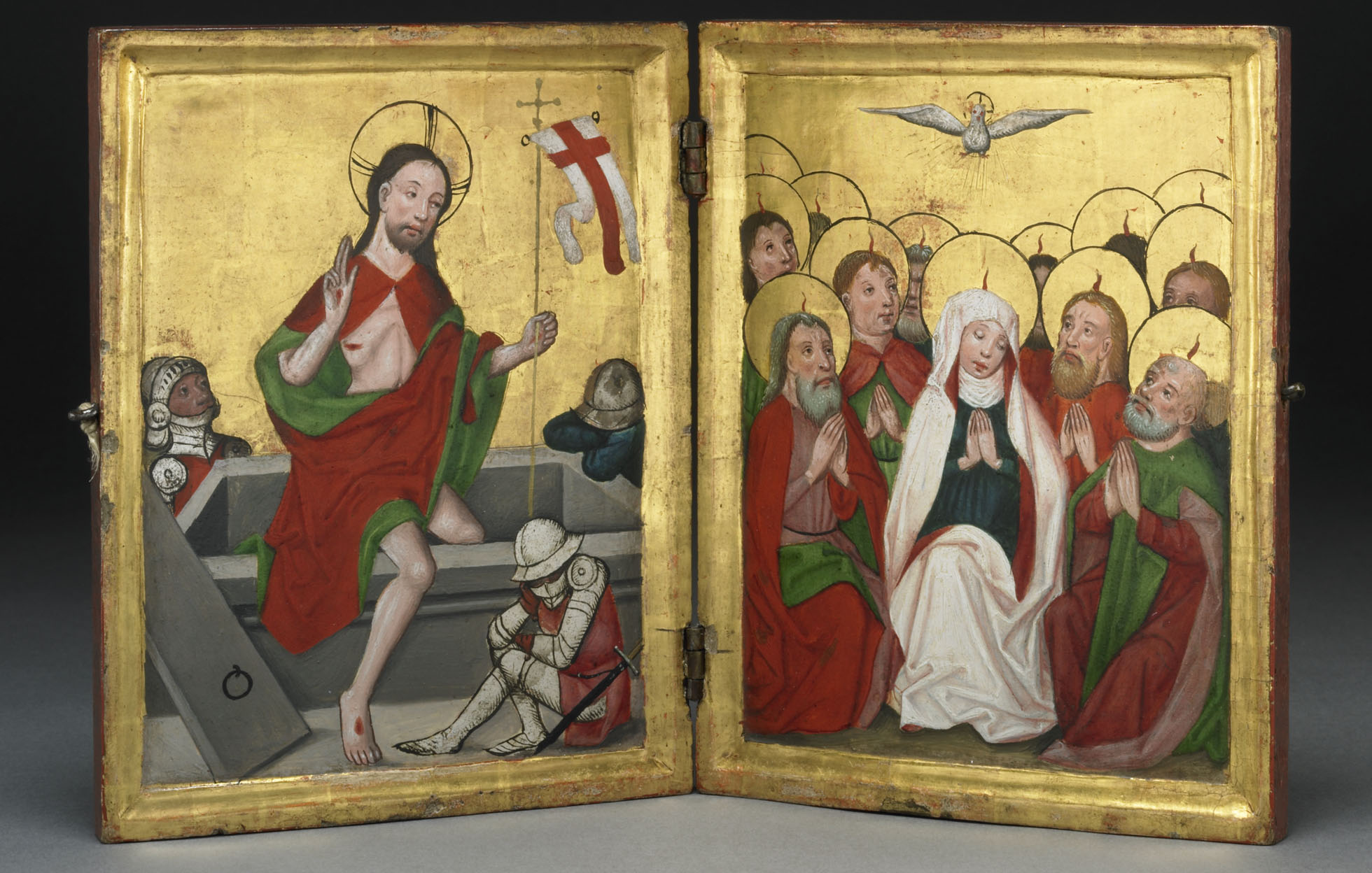 f9e27b709541 These miniature painted panels show Christ rising from the grave and his  mother and followers receiving the spirit of God