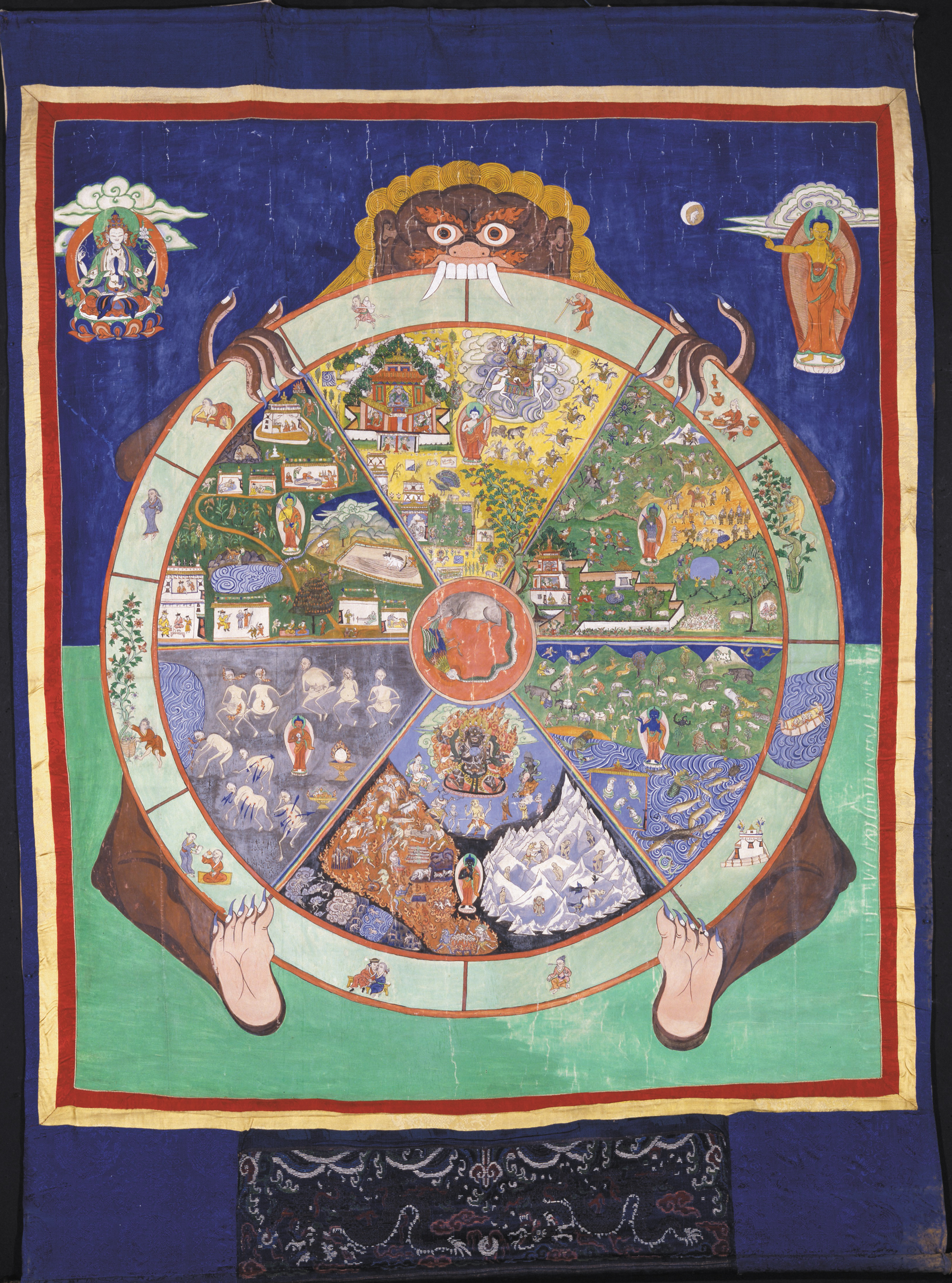 Painted textile (thangka) with the wheel of life. Tibet c041aafe52d67