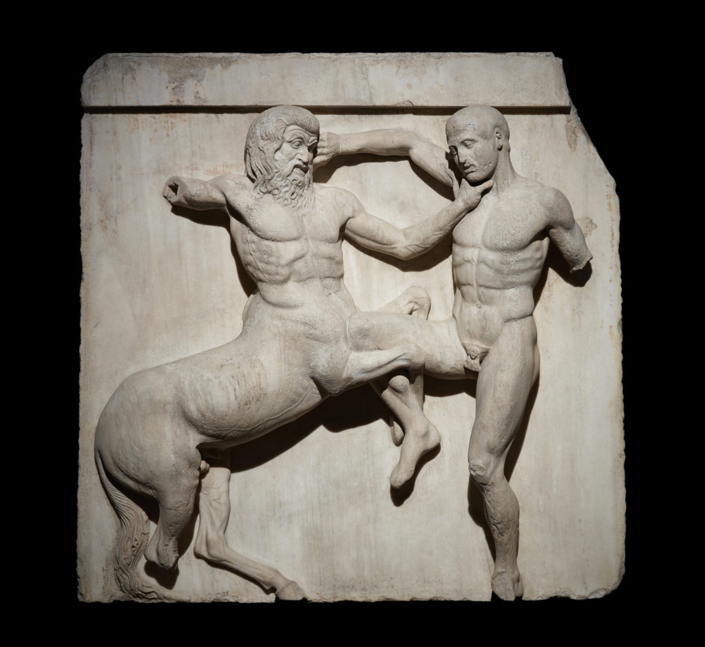 Marble metope from the Parthenon showing the battle between a Centaur and a Lapith. Athens, 447–438 BC.