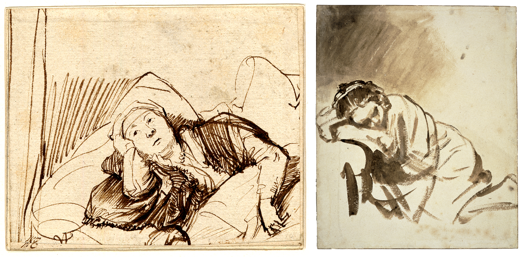 Left: Rembrandt, Woman lying awake in bed. Drawing, pen and brown ink, c. 1635-1640. Right: Rembrandt, Young woman sleeping. Drawing, brush and brown wash, c. 1654.