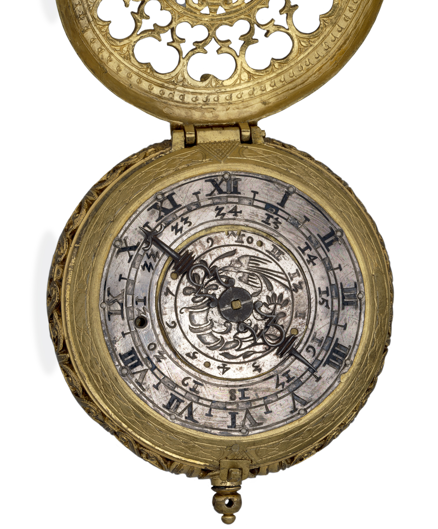Gilt-brass cased clock-watch with alarm, by Hans Schniep. Speyer, Germany, c. 1590-1610