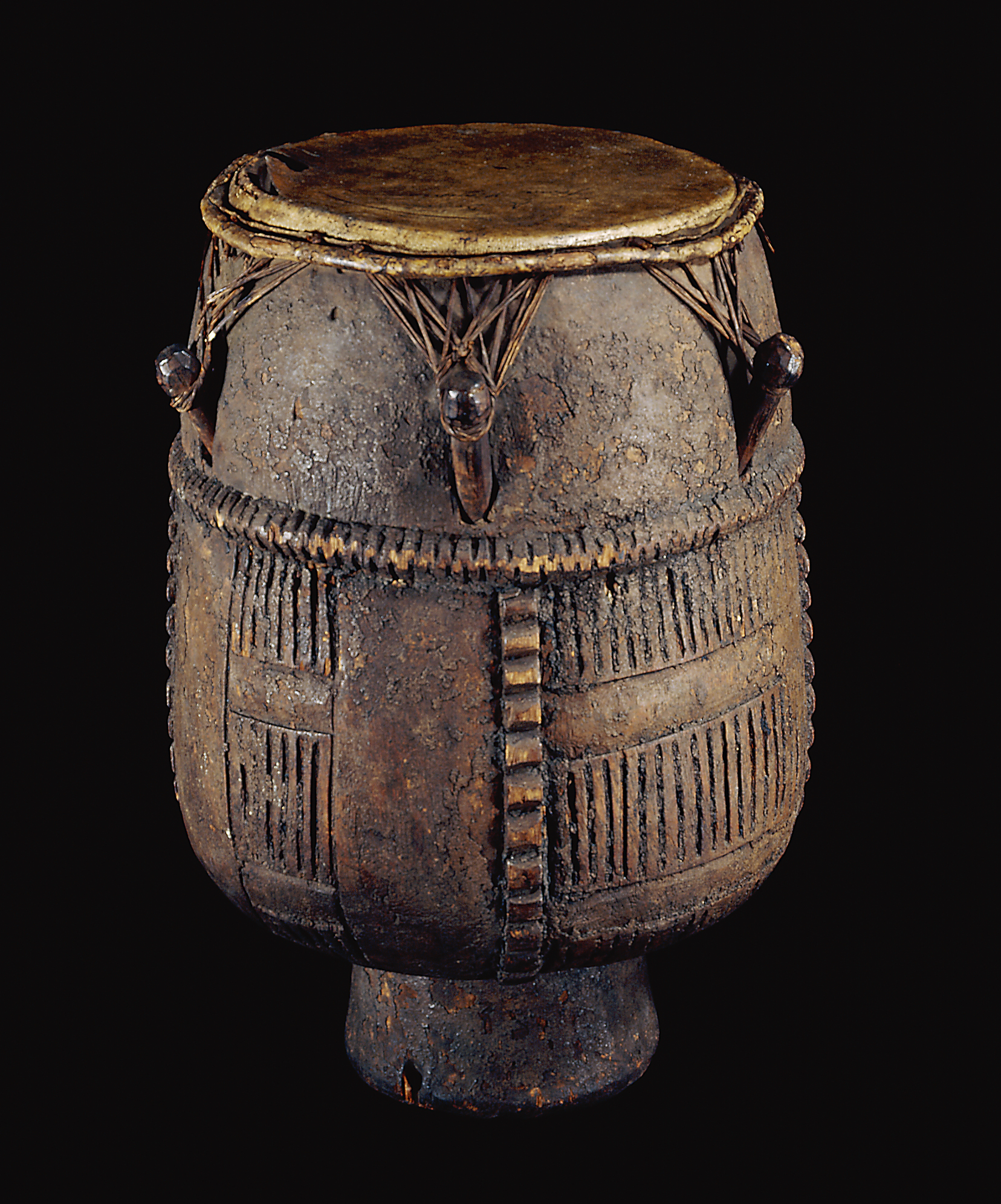 Image of drum on black background.
