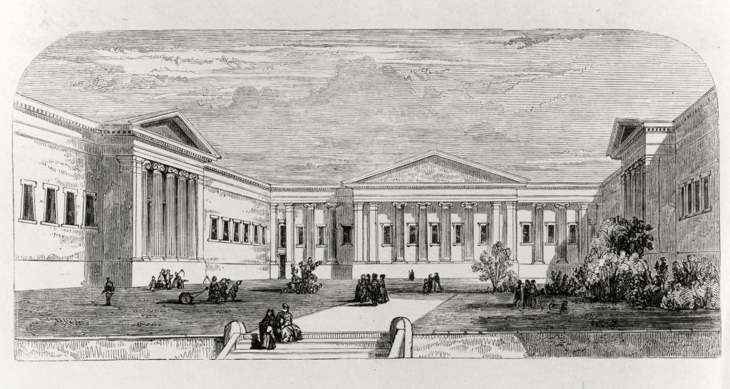 A 19th-century print of the Museum Courtyard
