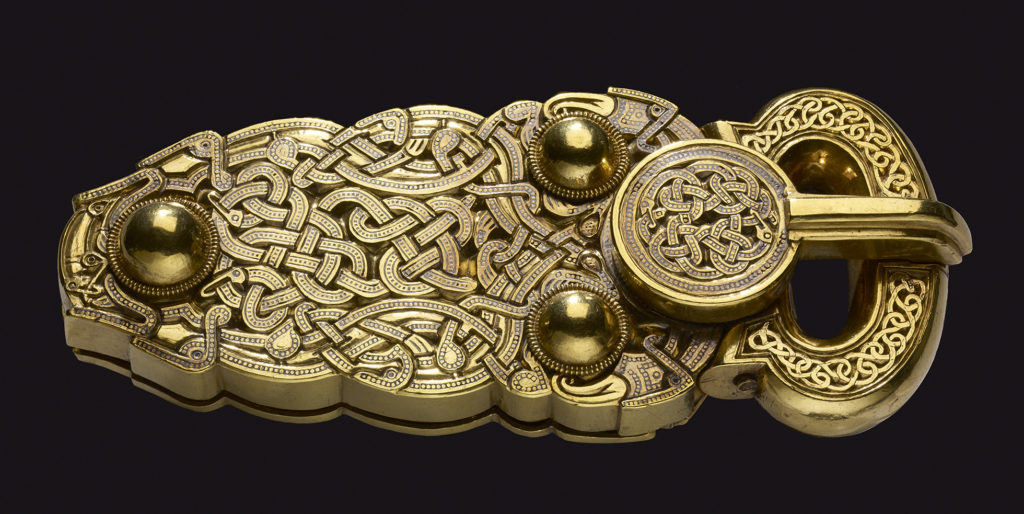 Gold belt buckle found at Sutton Hoo, Britain, early 7th century AD.
