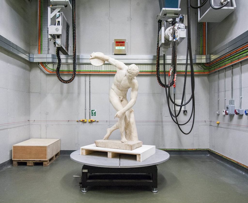 The Townley Discobolus in the Museum's X-ray lab.