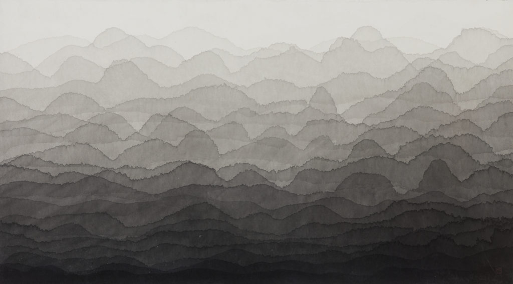 An ink drawing on paper that evokes a mountainous landscape reaching into the foggy distance. The foreground starts in dark black ink, and each subsequent undulating layer of ink gets progressively lighter until a light grey sky appears in the background.