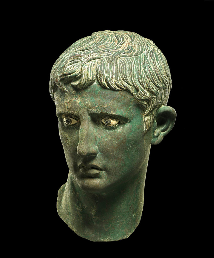 Bronze head of the Roman emperor Augustus, featured in the Egypt: faith after the pharaohs online exhibit. From Meroë, Sudan, c. 27–25 BC.
