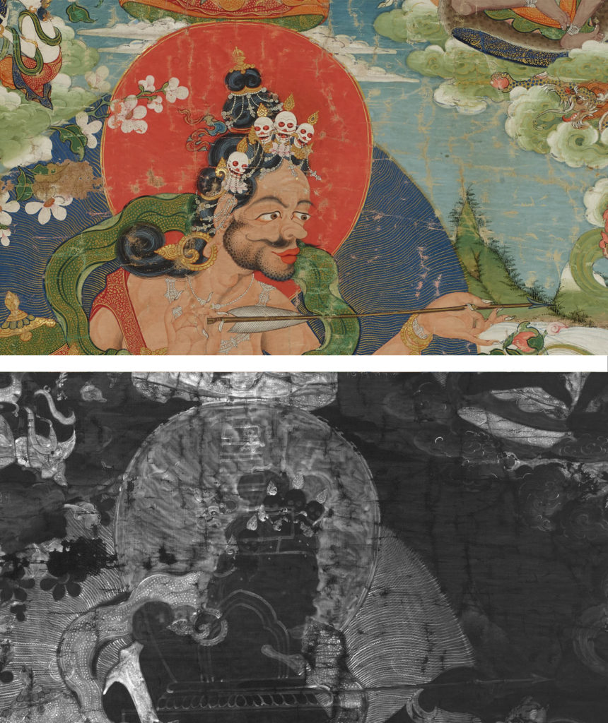 A composite image showing the central figure of the thangka in a photograph at the top, and an X-ray at the bottom. The top image is brightly coloured and the below is black-and-white, revealing lines radiating out of the figure.