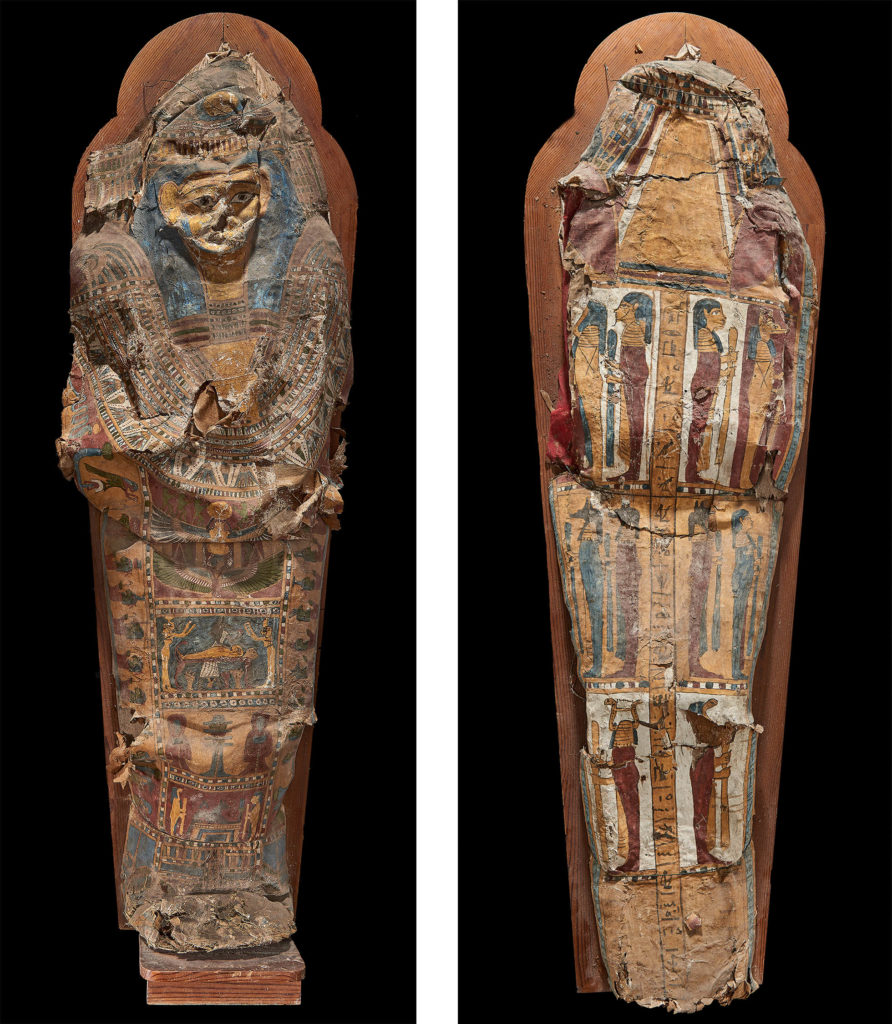 The front and back of an ancient Egyptian cartonnage coffin. It is highly decorated with colourful images of people, gods and hieroglyphs.