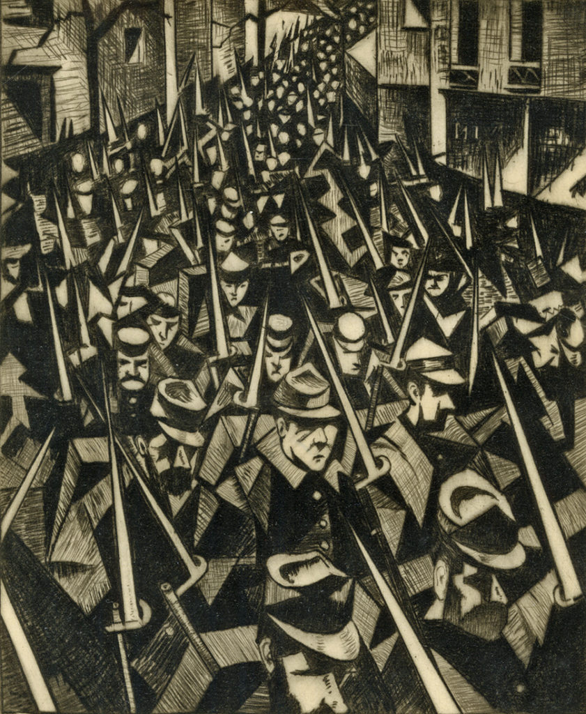 A print of World War One soldiers marching through a street in Flanders. They hold their bayonets upwards.