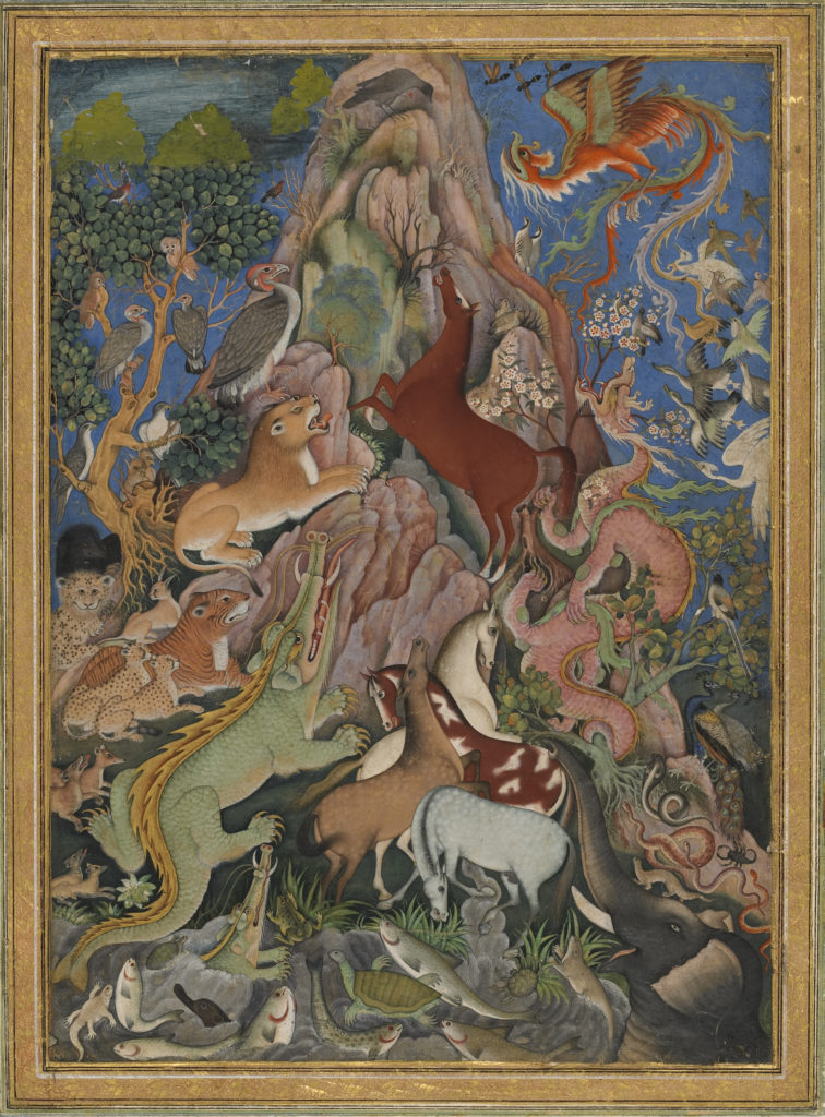A colourful painting showing a fantastic view of a rocky mountain in the centre. All kinds of animals (mythical and real) are perched up the mountain, looking towards a crow sitting at the top. Trees, foliage and birds populate the background.