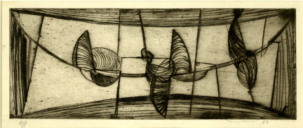 An abstract black-and-white print of a harbour scene, with a curved boarder of dark lines all around. Sailing boats are depicted with tall conical sails and rest in the harbour, pointing in different directions.