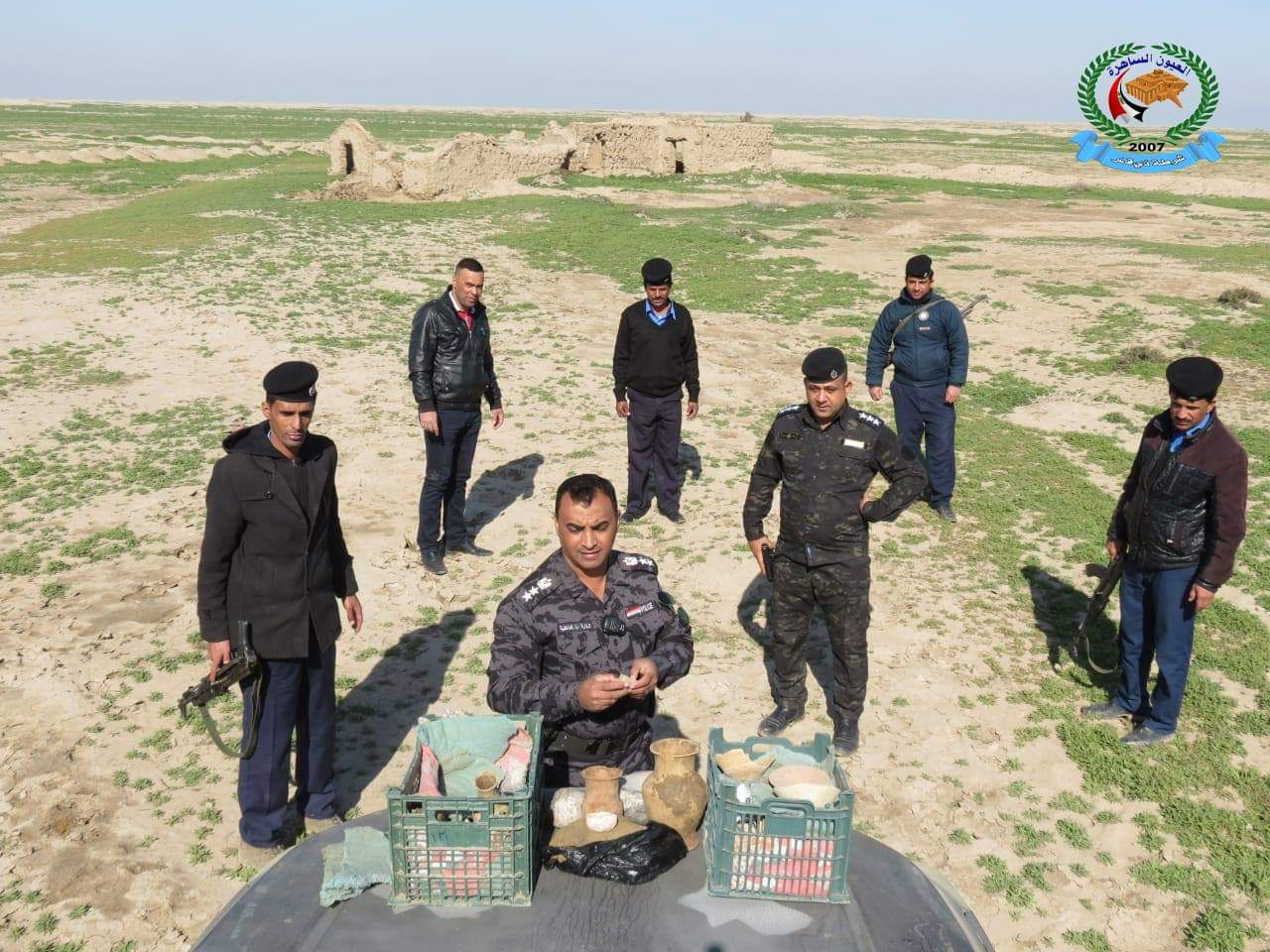 The archaeological police of the State Board of Antiquities and Heritage in Baghdad seize antiquities, as featured in Iraqi media