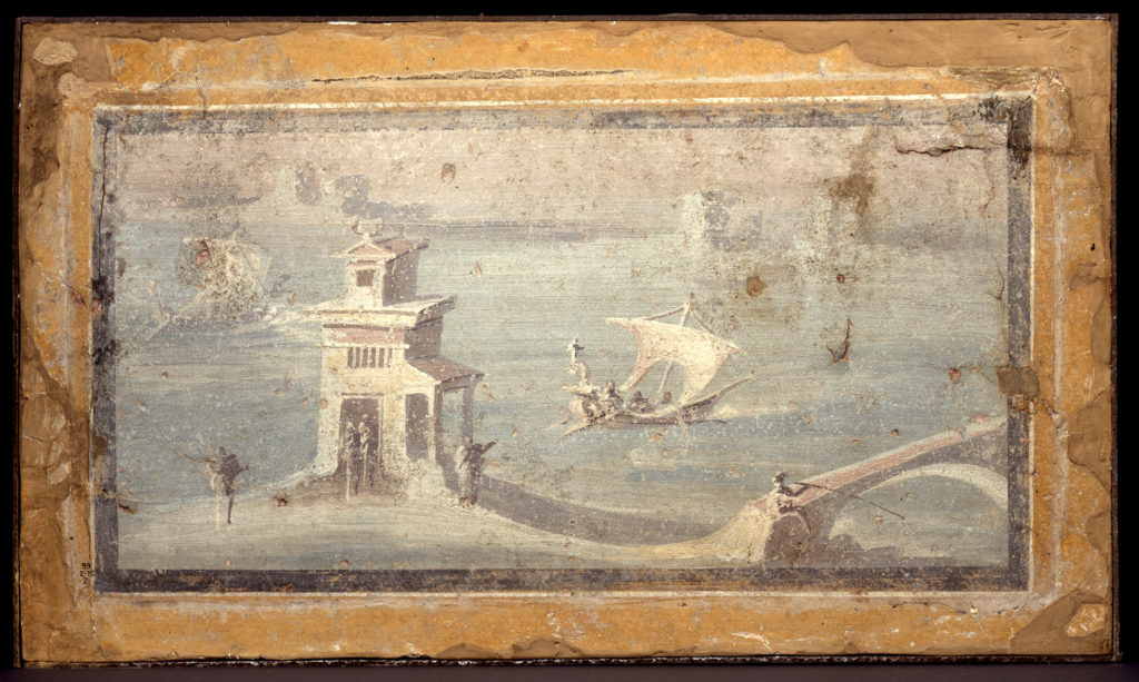 A wall-painting of a coastal scene, with a white Roman villa in the foreground, and small white pier on the right. A white sailing boat heads away from shore on a calm, light blue sea. People near the villa wave from the shore.